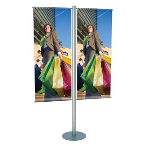 Stand δαπέδου για προβολή 2 banner, μονής ή διπλής όψης,