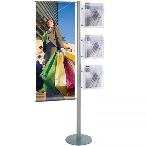 Stand δαπέδου για προβολή banner διάστασης 450x1200mm και 3 θήκες για έντυπα