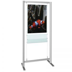 Stand δαπέδου από profile αλουμινίου για προβολή αφίσων και εντύπων διαφόρων διαστάσεων. Η ανάρτηση των αφισοθήκων και των εντυποθηκών