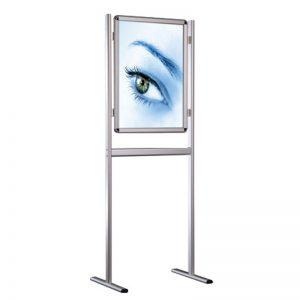 Stand δαπέδου από profile αλουμινίου, μονής ή διπλής όψης, για προβολή αφίσας με σύστημα για εύκολη αλλαγή θέματος.