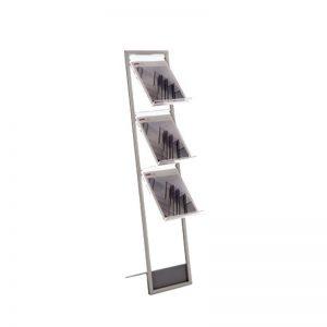 Stand δαπέδου με 3 θέσεις για έντυπα Α4. Θήκες εντύπων από διαφανές plexiglas πάχους 5mm.