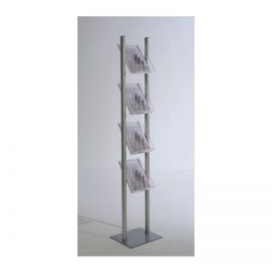 Stand δαπέδου από profile αλουμινίου με 4 θέσεις από plexiglas για έντυπα Α4.