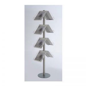Stand δαπέδου από profile αλουμινίου με 8 θέσεις από Plexiglas για έντυπα Α4.