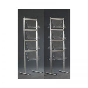 Stand δαπέδου από profile αλουμινίου μονής ή διπλής όψης, 4 επιπέδων για έντυπα σε ελεύθερη διάταξη.