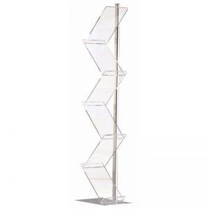 Stand δαπέδου, από profile αλουμινίου & plexiglas. Διαθέτει 6 θέσεις για έντυπα A4, διάταξη zick zack.
