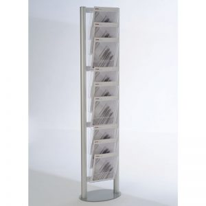 Stand δαπέδου από profile αλουμινίου για έντυπα Α4 σε δύο παραλλαγές. Μονής όψης 9 ή 18 θέσεων.