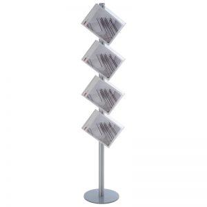 Stand δαπέδου από profile αλουμινίου και ακρυλικές θήκες για έντυπα Α4. Μονής όψης 4 θέσεων Α4 ή διπλής όψης 8 θέσεων Α4.