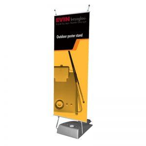 Σταντ δαπέδου εξωτερικού χώρου για προβολή banner 60x153cm με βάση νερού & τσάντα μεταφοράς.