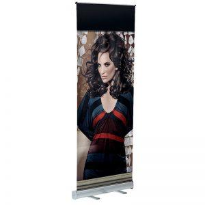 Πτυσσόμενο σταντ δαπέδου για banner μονής όψης Roll Up σε 3 διαστάσεις