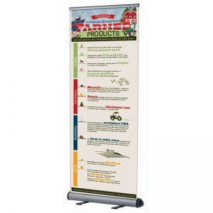 Πτυσσόμενο σταντ δαπέδου για banner μονής όψης Roll Up