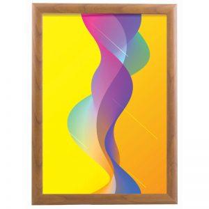 Επιτοίχια αφισοθήκη από αλουμίνιο σε απόχρωση ξύλου, πάχος κορνίζας 25mm, με σύστημα για εύκολη αλλαγή αφίσας