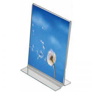 Ακρυλικό επιτραπέζιο stand για προβολή αφίσας διπλής όψης.